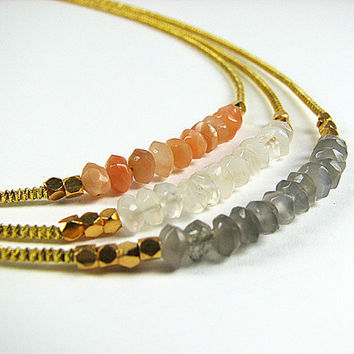 Multistrand moonstone necklace Peach grey and white gemstone necklace Gold multi strand necklace Beaded necklace  Beaded jewelry Mothers Day