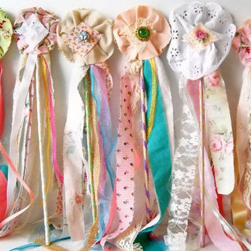3 Fabric Flower Wands, Princess Birthday Party, Flower Girl Bouquet Alternative, Boho Wedding Photo Prop, Farmhouse Home Decor
