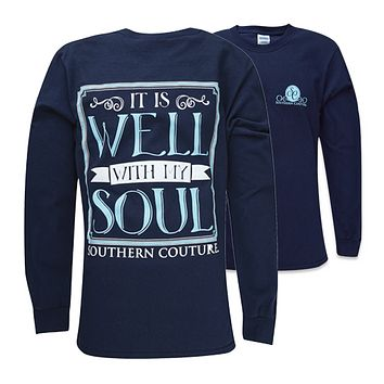 Southern Couture It is Well With My Soul Navy Long Sleeve Girlie Bright T Shirt
