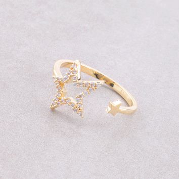 Double Open Star Ring