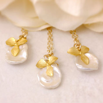 Gold Orchid Necklace - keshi pearl necklace, bridesmaid gift set, bridesmaid necklace, bridal jewelry, flower necklace, floral necklace