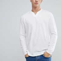 ASOS TALL Long Sleeve Notch Neck T-Shirt In White at asos.com