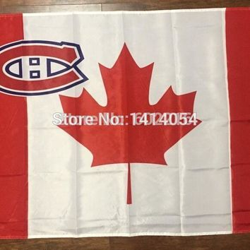 Montreal Canadiens Canada  Flag 150X90CM  NHL 3X5 FT Banner 100D Polyester flag grommets9, free shipping