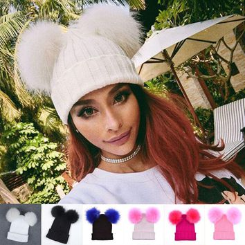 Pom Pom Beanie -  Braided Crochet Wool Knit Beanie Beret Ski Ball Cap Baggy Womens Winter Warm Hat