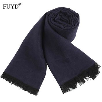 Wool Scarf For Men Luxury Brand Business Warm Cashmere Scarves And Shawls Bandana Wrap Winter Scarf Male Solid Pashmina Hijab