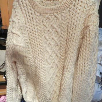 vintage Handknit Ivory  / beige Fishermans Cable Knit  Unisex Sweater IRISH