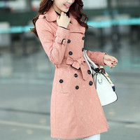 Pink casual women coat, winter coat jacket for women, long sleeve coat jacket with waist belt for women