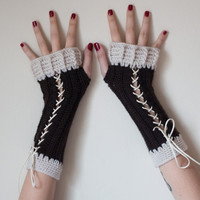 Mittens, Fingerless Gloves, Crocheted Gloves, Crochet Gloves, Arm Warmer, Hand Warmer, Corset Glove, Black and White Mittens