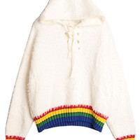 White Contrast Stripe Lace Up Front Fluffy Mohair Hoodie