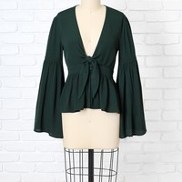 Emerald Green Statement Sleeve Blouse