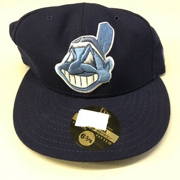 NWT CLEVELAND INDIANS BLUE AND SKY RETRO FLAT BRIM NEW ERA 5950 FITTED HAT