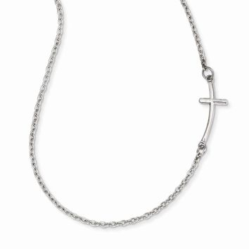 14k White Gold Small Sideways Curved Cross Necklace
