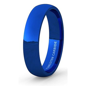 LANCE Domed Blue Tungsten Carbide Wedding Band Highly Polished 6mm