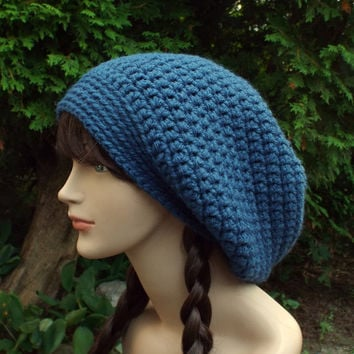 Indigo Blue Slouch Beanie - Womens Slouchy Crochet Hat - Oversized Slouchy Beanie - Chunky Hat - Baggy Beanie - Winter Slouchy Hat