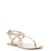 Gold Leather Strappy Flat Sandals