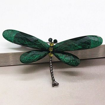 JUJIE Fashion Dragonfly Brooches For Women Muticolor Insect Animal Resin Brooch Pins Jewelry Drop