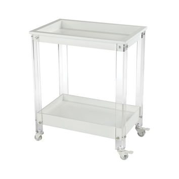 Kamchatka Bar Cart White,Clear