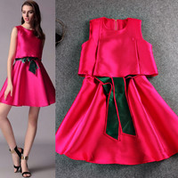 Solid Spliced Sleeveless Bow A-Line Swing Mini Dress