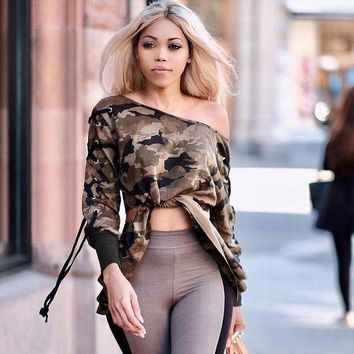 DCCKH3L Women Camouflage Print Crisscross Bandage Long Sleeve Sweater Knotted Crop Tops