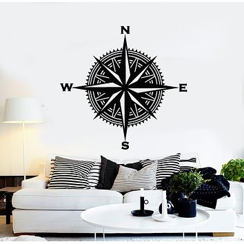 Vinyl Wall Decal Compass Wind Rose Travel Nautical Decor Stickers Mural (g665)