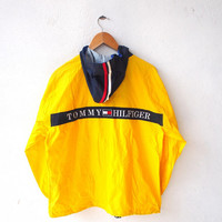 ON SALE 20% TOMMY Hilfiger Color Block Vintage 90's Hip Hop Snowbeach Streetwear Yellow Hoodie Windbreaker Jacket Trainer L