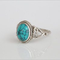 925 Sterling Silver Oval Turquoise Ring US6, US7, US8