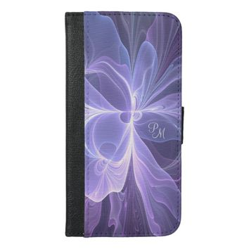Monogram Purple Abstract Modern Fractal iPhone 6/6s Plus Wallet Case