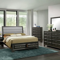 5 pc Ayana collection antique gray finish wood w/ drawers in footboard queen bedroom set