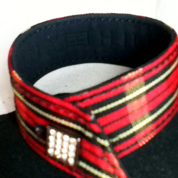 "Tommy Hilfiger Signed Jewelry Tartan Plaid Cuff Bracelet CZs Cubic Zirconia Red  7-1/4"" Jewellery Women Teens Tweens Girls Preppy British"