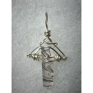 Tourmalinated Quartz Crystal Pendant Wire Wrapped .925 Sterling Silver