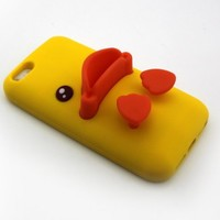 Big Dragonfly High Quality Silicone Super Lovely 3D Duck Design Stand Back Case for Apple iPhone 5/iPhone 5S with Landscape and Portrait Angle (Yellow & Orange)
