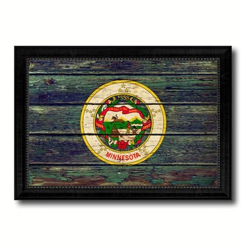 Minnesota State Vintage Flag Canvas Print with Black Picture Frame Home Decor Man Cave Wall Art Collectible Decoration Artwork Gifts