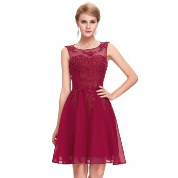 Bridesmaid Dresses Grace Karin Short Party Sleeveless Appliques Beading Kneed Length Wedding  Bridesmaid dress