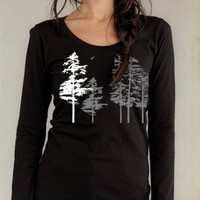 Women's long sleeve Hemlock tree shirt, organic black, scoopneck, winter nature scene, sexy in all sizes