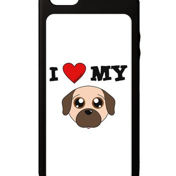 I Heart My - Cute Pug Dog - Fawn iPhone 5C Grip Case  by TooLoud