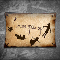 Unique Pillow Cover - Disney Vintage Peter Pan Never Grow Up Quote - Suitable For Any Age, Soft, Comfortable, Stylish