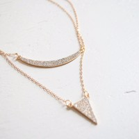 Layered Pave Pendant Necklace