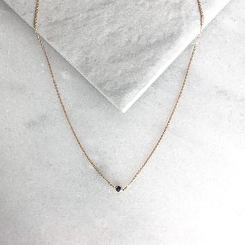 Navy Tiny Natural Stone Necklace