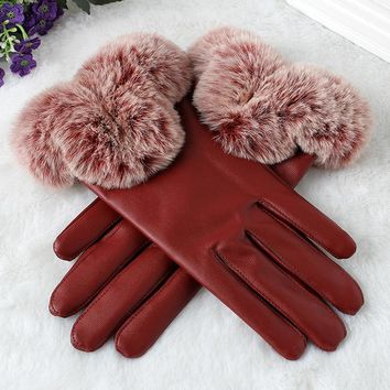 womens gloves winter leather PU full finger warm mittens faux fur decos purple red touchscreen Gloves female ladies adult