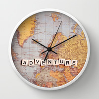 adventure map Wall Clock by Sylvia Cook Photography