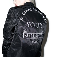 UNIF In Memory Bomber Jacket Black