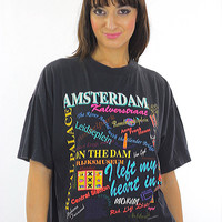 80s Amsterdam shirt travel Cotton tee shirt Oversized tourist