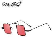 WHO CUTIE 90S Small Square Steampunk Sunglasses Women Men Brand Designer Vintage Retro 2018 Sun Glasses Flat Top Shades OM580