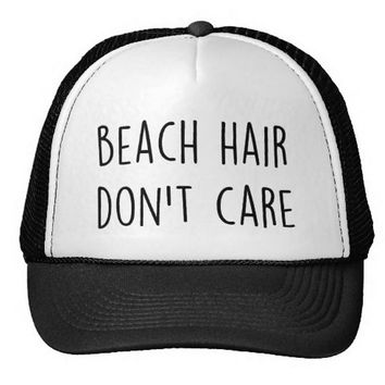Beach Hair Don't Care Letter Print Baseball Cap Trucker Hat For Women Men Unisex Mesh Adjustable Size Black White Drop Ship M-82