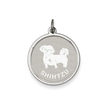 Sterling Silver Laser Etched Shih Tzu Dog Pendant, 19mm