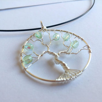 FREE SHIPPING Tree of life wire pendant with cut glass beads: Green