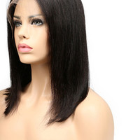 Short Bob Brazilian Remy Hair / Hand-Tied Lace Front Human Hair Wigs
