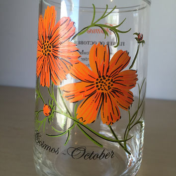 Vintage Flower of the Month Series Orange Flower Drinking Glass, October Cosmos Floral Glass Cup, Birthday Gift