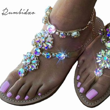 Rumbidzo New Bohemian Women Sandals Crystal Flat Heel
