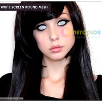 White Screen Round Mesh Halloween Lens Color Contact Lens - Circle Contact Lens - Cosmetic Contact Lens - Colored Contacts - HoneyColor.com